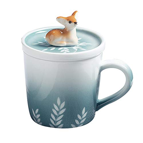Hand-painted Animal Mug, Creative Ceramic Cup, Household Milk Cup, Coffee Cup With Lid 260ML (color : Deer) - Finely Hand Painted Ceramic