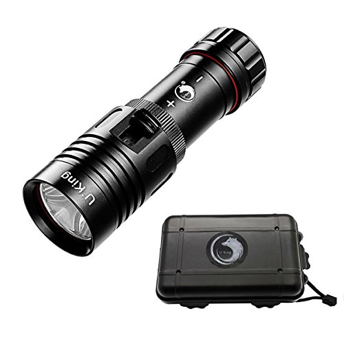 Diving-Tatical-Flashlight-High-Power-LED-Handheld-Waterproof-IPX-8-Torch-Ultra-Bright-CREE-XM-L2-800LM-with-Hand-Strap-and-box-1x18650-1x26650-Battery-Not-includedby-UKing