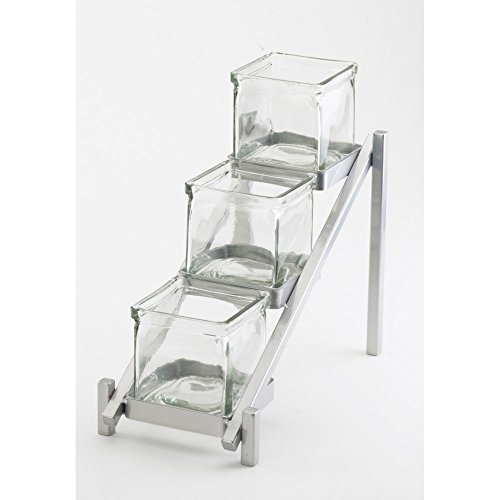 Cal Mil 1149-74 One by One Glass Jar Display, Glass, 13.25'' Length x 6.25'' Width x 11.5'' Height, Silver by Cal Mil