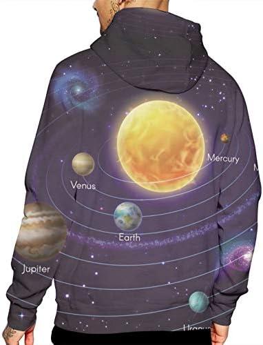 Bong6o Space and Astronomy Sweat à capuche pour homme Motif imprimé - Blanc - M