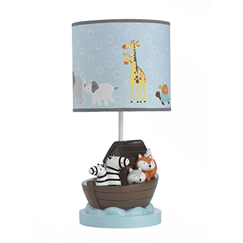 Lambs & Ivy Two of A Kind Noah'S Ark Animals Lamp With Shade & Bulb, Blue/Gray by Lambs & Ivy