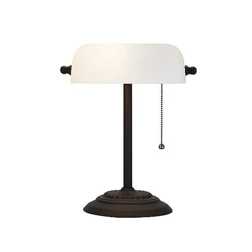 Ravenna Home Contemporary Banker s Desk Lamp with LED Light Bulb, 13.5 H, Dark Bronze