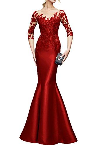 Rot Formal Abendkleider Festlichkleider Dunkel Braut lang La Brautmutterkleider Spitze Rot Meerjungfrau Langarm mia Etuikleider 14Oqg6