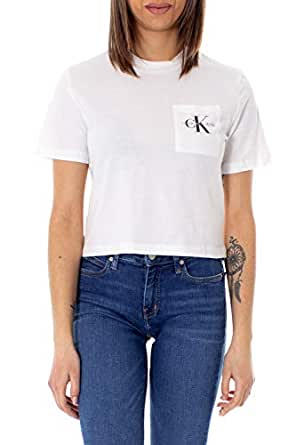 Calvin Klein Jeans Women's Monogram Off Placement Cropped Tee, White, XS