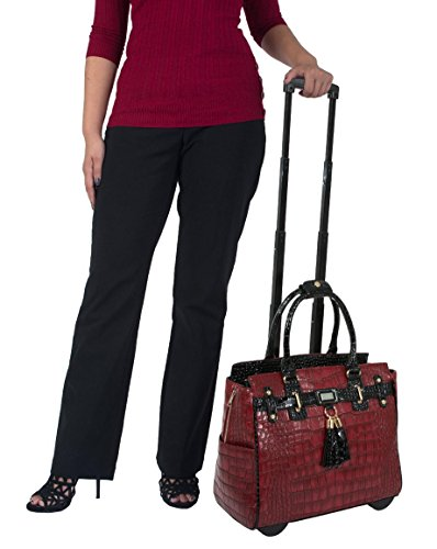 """The Belmont"" Bordeaux Red Burgundy Wine & Black Rolling iPad Tablet or Laptop Tote Carryall Bag"