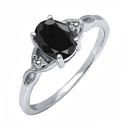 Sterling-Silver-Black-Sapphire-White-Diamond-Womens-Three-Stone-Ring-173-cttw-Available-in-size-5-6-7-8-9