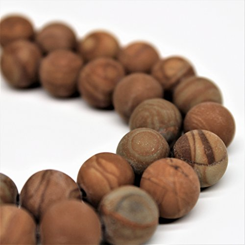 Lynxus Matte Wood Grain Jasper Gemstone Loose Beads 6mm 62 Beads Per 15.5