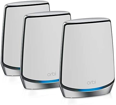 NETGEAR Orbi Whole Home Tri-Band Mesh WiFi 6 System RBK853 Router with 2 Satellite Extenders Coverage up to 7,500 sq. ft. and 60 Devices 11AX Mesh AX6000 WiFi Up to 6Gbps