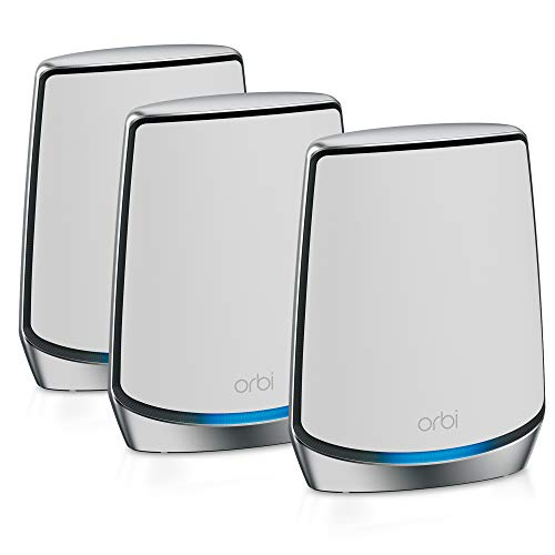NETGEAR Orbi Whole Home Tri-Band Mesh WiFi 6 System (RBK853) - Router with 2 Satellite Extenders | Coverage up to 7,500 sq. ft. and 60+ Devices | 11AX Mesh AX6000 WiFi (Up to 6Gbps)