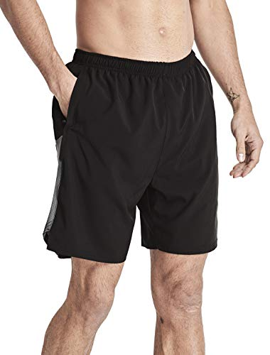 "- 1994Fashion Men's Running Shorts 7"" Quick Dry with Mesh Liner Zipper Pockets Workout Athletic Active Gym Shorts 999 Black M"