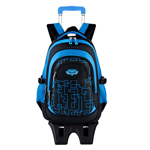 Rolling Backpack for Boys, Fanspack Backpack with Wheels Trolley School Bags Kids Backpack Bookbags Wheeled Backpack for School