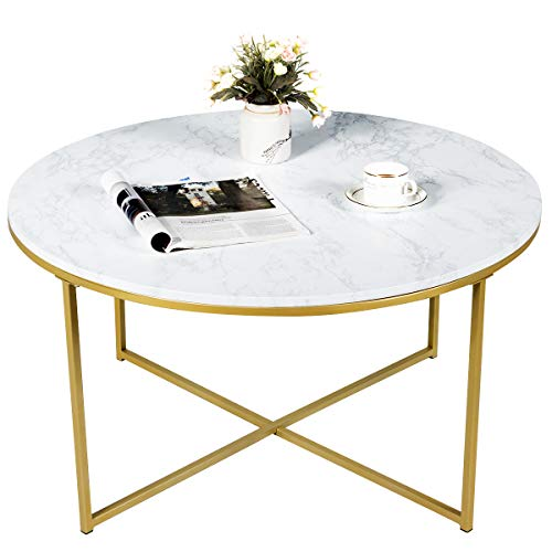 Giantex Coffee Table Round Adjustable W/Gold Print Metal Frame, X-Shape Beside Sofa for Living Room Accent Furniture Tea Table (36