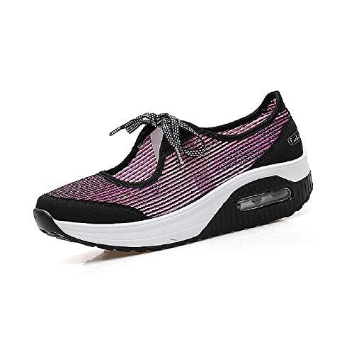 Zapatillas Rojo Breathabel Color Mesh Qiusa Shoes tamaño Rocker Comfort Trainers EU Bowknot Rojo Sole 39 ZnvqCdxwd