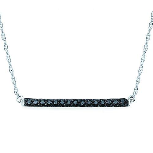 - 14K White Gold Black Diamond Bar Necklace, 18
