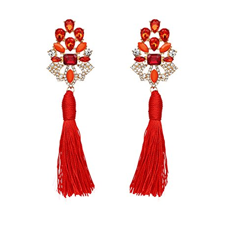 Kercisbeauty Unique Overstate Blue Red Yellow Crystal Gemstone Concentric Earrings Studs Dangles with Cloth Tassels for Women and Girls,Bar,Party,Gift for Her,Birthday,Anniversary Gift (Red)