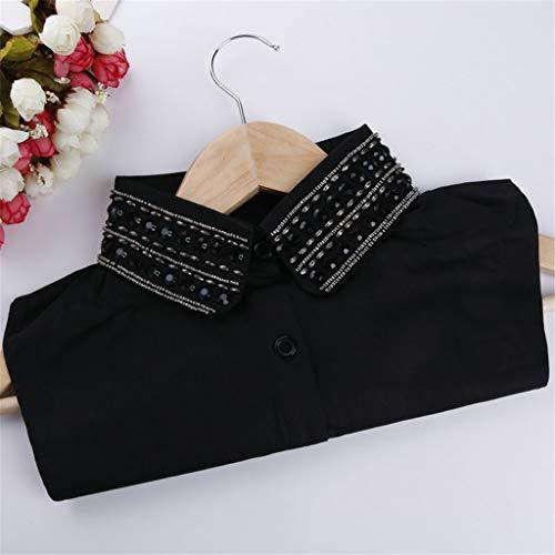 Tonsee Women Diamond Button Blouse False Collar Clothes Shirt Detachable Collars Shirt Blouse Necklace Collar Tie