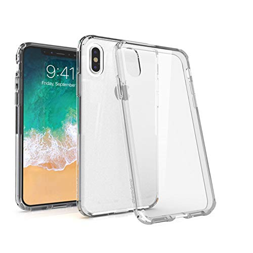 (BasAcc Crystal PC/TPU Rubber Case Cover [Anti-Scratch Coating] [Shockproof Corner] Protection with Soft TPU Bumper, Compatible with Apple iPhone Xs/X 5.8 inch (5.8
