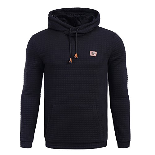 HEQU Men's Square Pattern Quilted Hoodie Sweatshirt with Kangaroo Pocket Black XXL - Black Square Pattern