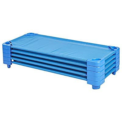 ECR4Kids Assembled Blue Stackable Standard/Toddler Daycare Rest Cot (5-Pack)
