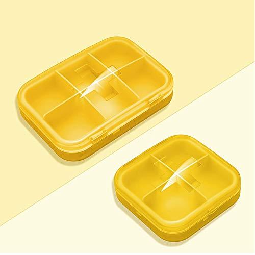 (POUTE Small Pill Box Portable one-Minute Filling Pill Box with Storage sub-Pocket Mini Medicine Pill Box Sealed Box (Color : Yellow))