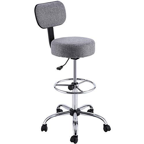 Swivel Back Bar Custom Stool - Anah Bar Chair Lift Swivel Chair Fashion Stool High Stool Round Bar Stool Bar Chair with Backrest (Color : Gray)
