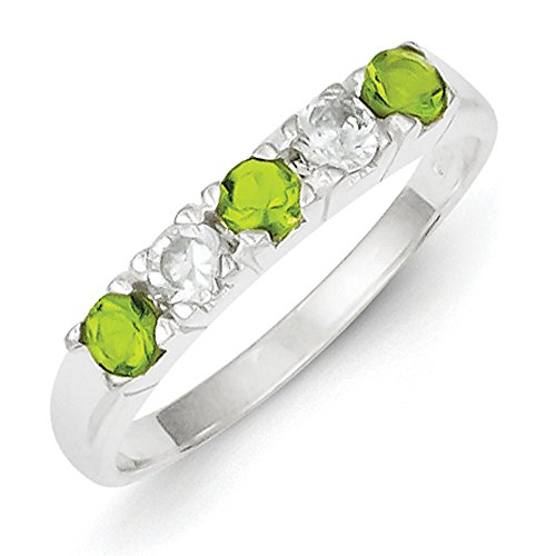 Sterling Silver Lime Green and White Cubic Zirconia Ring - Size 7 Lime Green Cubic Zirconia Ring
