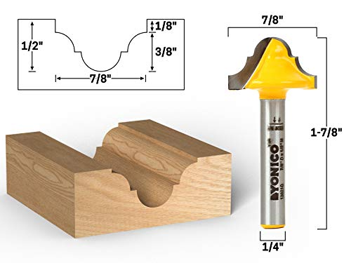 (Yonico 13021q 3/16-Inch Radius Double Roman Ogee Groove Router Bit 1/4-Inch Shank)
