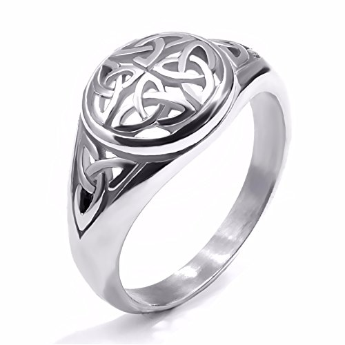 Elfasio Womens Girls Stainless Steel Ring Band Celtic Knot Silver Tone Fashion Jewelry