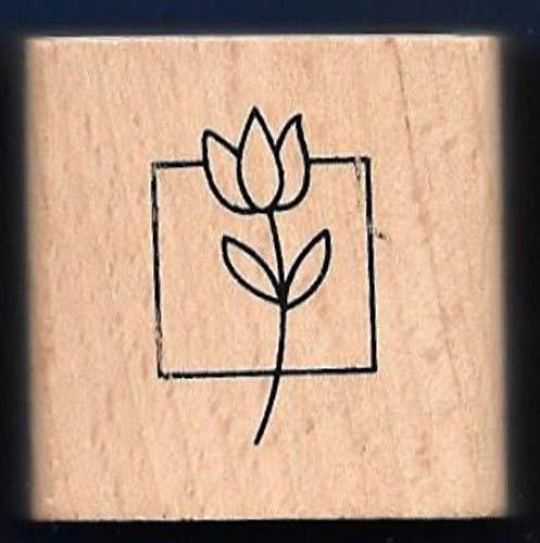 Rubber Stamp Frames Flower Tulip Box Design Artistic Gift Tag Anita