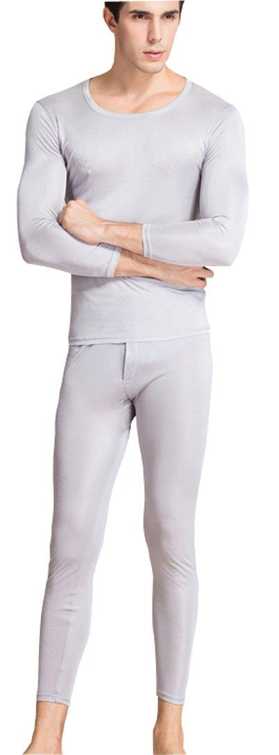 METWAY Men's Thermal Underwear Set Mulberry Silk Stretch 2pc Long John Underwear X-Lager Silver Gray