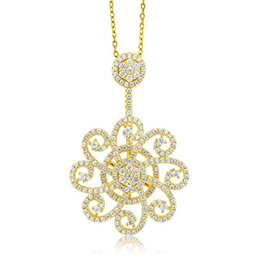 Gem Stone King Yellow Gold Plated 925 Sterling Silver White CZ Spinning Roulette 1.5