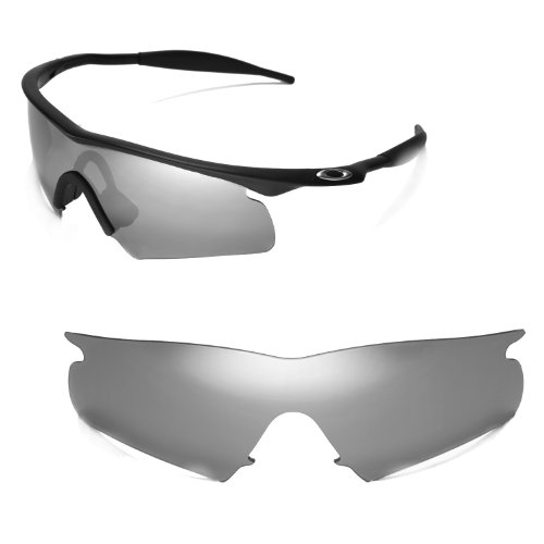 Walleva Replacement Lenses for Oakley M Frame Hybrid Sunglasses - Multiple Options Available (Titanium Mirror Coated - - Frame Lens M