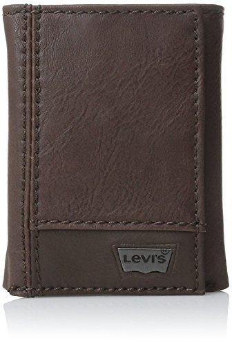 Levi's Men's  Leather Trifold Two-tone Wallet,Brown,One Size