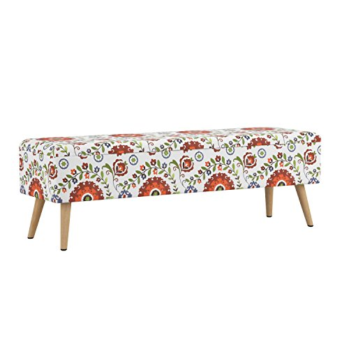 """Otto & Ben 52"""" Storage Ottoman Bench with EASY LIFT Top, Upholstered Large Shoe Ottomans for Entryway, Bedroom, and Outdoor, Retro Floral"""
