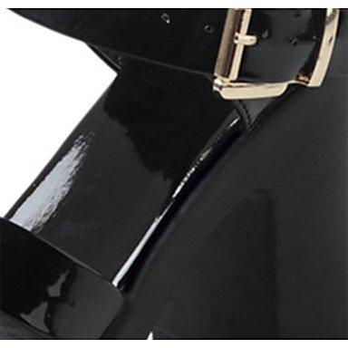 LvYuan Mujer Sandalias Confort PU Verano Casual Paseo Confort Hebilla Tacón Robusto Blanco Negro 7'5 - 9'5 cms Black