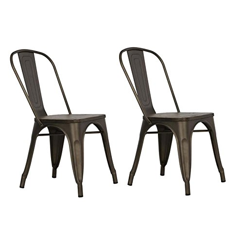 DHP Fusion Metal Dining Chair with Wood Seat, Set of two, Antique Copper (Set Finish Brown Antique)