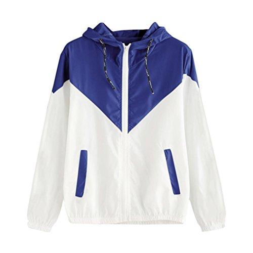 Clearance Sale! Women Long Sleeve Patchwork Thin Skinsuits Hooded Zipper Pockets Sport Coat (L, Blue) -