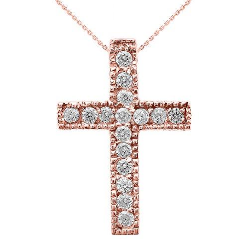 Collier Femme Pendentif 14 Ct Or Rose Milgrain Bordé Diamant Croix (Petit) (Livré avec une 45cm Chaîne)