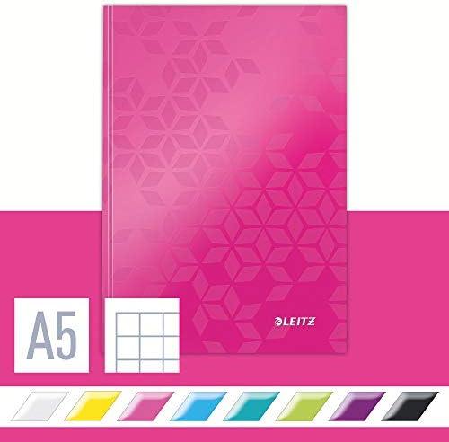Leitz 46281023 Notizbuch WOW, A5, kariert, pink metallic