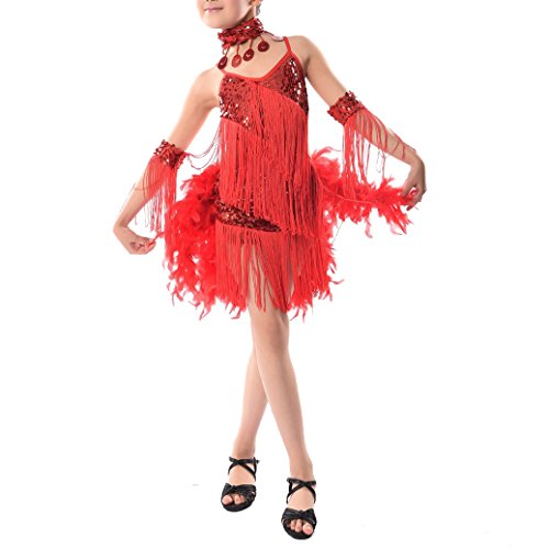 Latin Dance Costumes With Feathers (TOOGOO(R)New Children Kids Sequin Feather Fringe Stage Performance Competition Ballroom Dance Costume Latin Dance Dress For Girls Red,M)