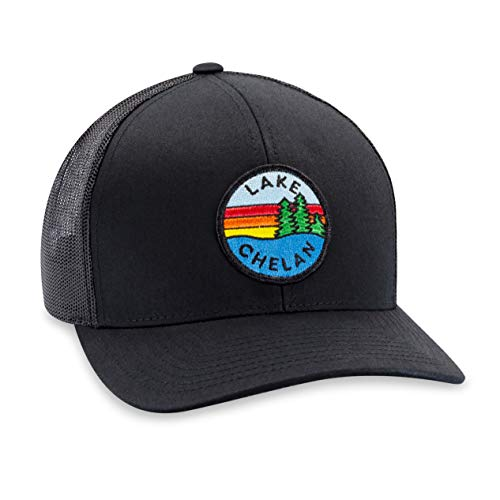 Lake Chelan Hat - Washington Trucker Hat Baseball Cap Snapback Golf Hat (Black)