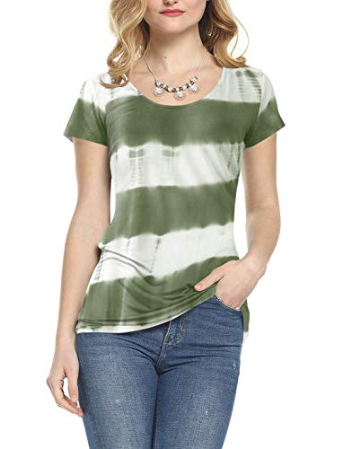 (Amoretu Womens Scoop Neck Short Sleeve Tee Tops Tie Dye T-Shirts for Summer(Green,XXL))