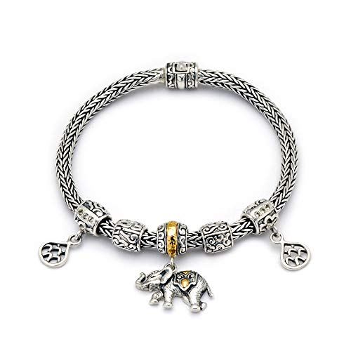 925 Sterling Silver and 18 Kt Yellow Gold Bracelet with Dragon Bone Chain Diameter 4mm for Women and Jewelry Gift, Elephant Bead and White Topaz Stone Pave Setting, Size 7.5 Inch ()