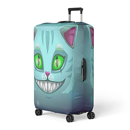 Semtomn Luggage Cover Blue Alice Fantasy Scary Smiling Cat Face Cheshire Green Travel Suitcase Cover Protector Baggage Case Fits 18-22 Inch