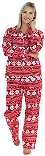 PajamaMania Women's Flannel Pajamas (Red Snowflake, XS)