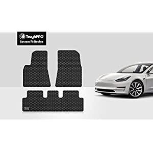 ToughPRO Tesla Model 3 Floor Mats Set - All Weather - Heavy Duty - Black Rubber -2017-2018