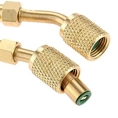 3pcs R410a Adapter Charging Vacuum Port Adapter Brass Converter with Thimble 5/16 Inch SAE Female Quick Couplers to 1/4 Inch SAE Male Flare for Mini Split System, Air Conditioners, HVAC and Refriger: Automotive