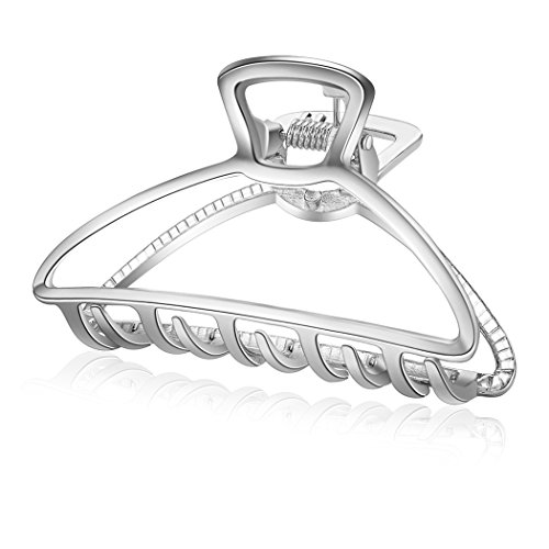 ACCGLORY Hollow Hair Claw Simple Metal Hair Clamps for Women (Triangle-Silver)