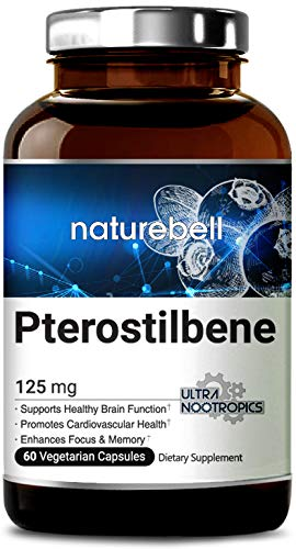 - Maximum Strength Pure Pterostilbene 125mg, 60 Veg Capsules, Naturally Supports Healthy Aging and Longevity, Brain Function and Cardio Health, Non-GMO, Vegan Friendly and Made in USA