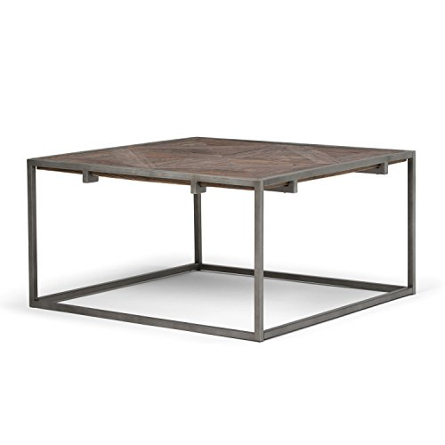 Simpli Home AXCAVY-05 Avery Solid Aged Elm Wood 34 inch Wide Square Modern Industrial Coffee Table in Distressed Java Brown Wood Inlay